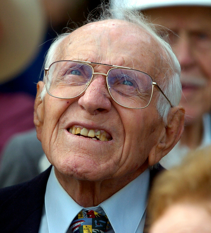 . Torrance High and graduate Louis Zamperini celebrate their 90th birthdays Saturday at the school.  (01/27/07)  (Photo by Scott Varley/Daily Breeze)