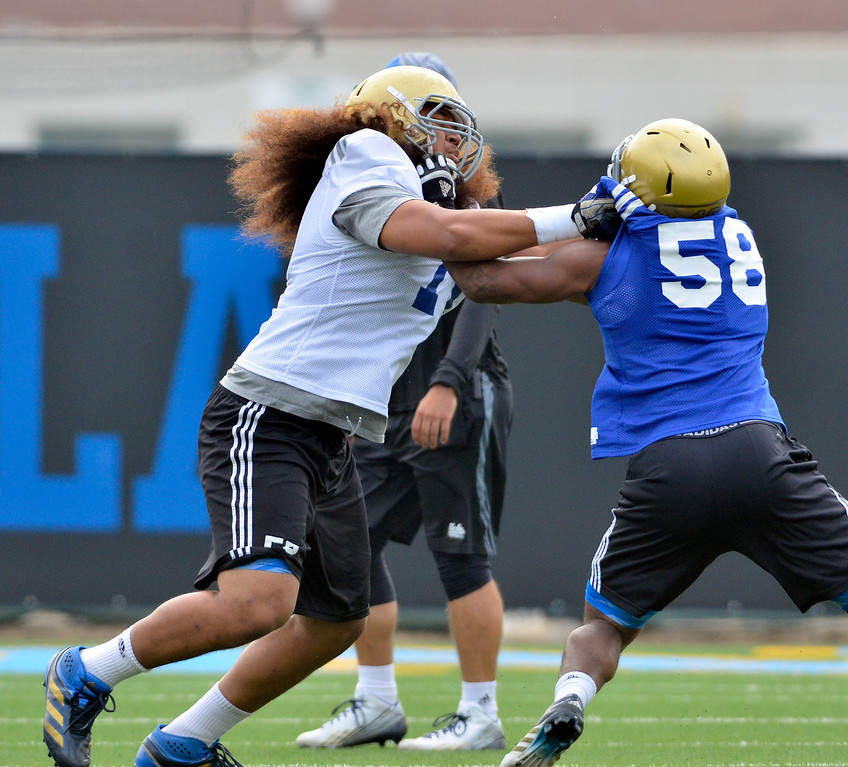 . UCLA football spring practice at Spaulding Field.  #71 OL  Paosi Moala. (Apr.16, 2014 Photo by Brad Graverson/The Daily Breeze)