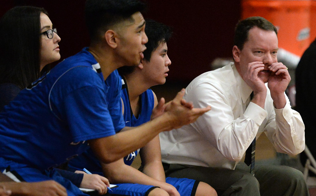 . Diamond Ranch head coach Loren Grover, right, in the first half of a prep basketball game against West Covina at West Covina High School in West Covina, Calif., on Wednesday, Jan. 8, 2014. (Keith Birmingham Pasadena Star-News)