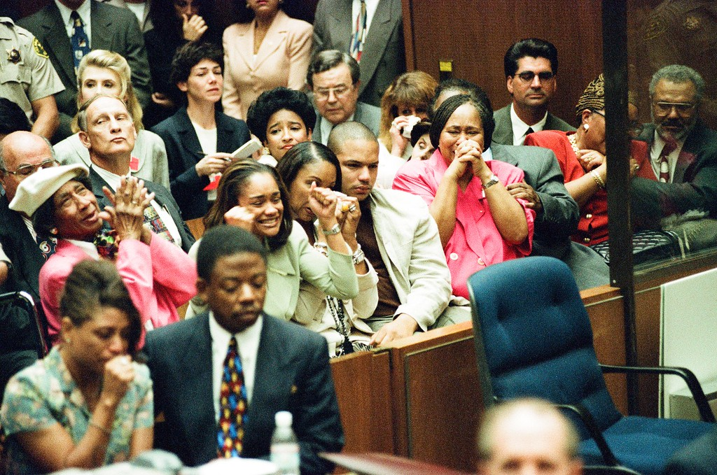 . This Oct. 3, 1995 file photo shows O.J. Simpson\'s family react to the verdict. Simpson was found not guilty of murdering his ex-wife Nicole Brown Simpson and her friend Ron Goldman at the Criminal Courts Building in Los Angeles. (Los Angeles Daily News file photo)