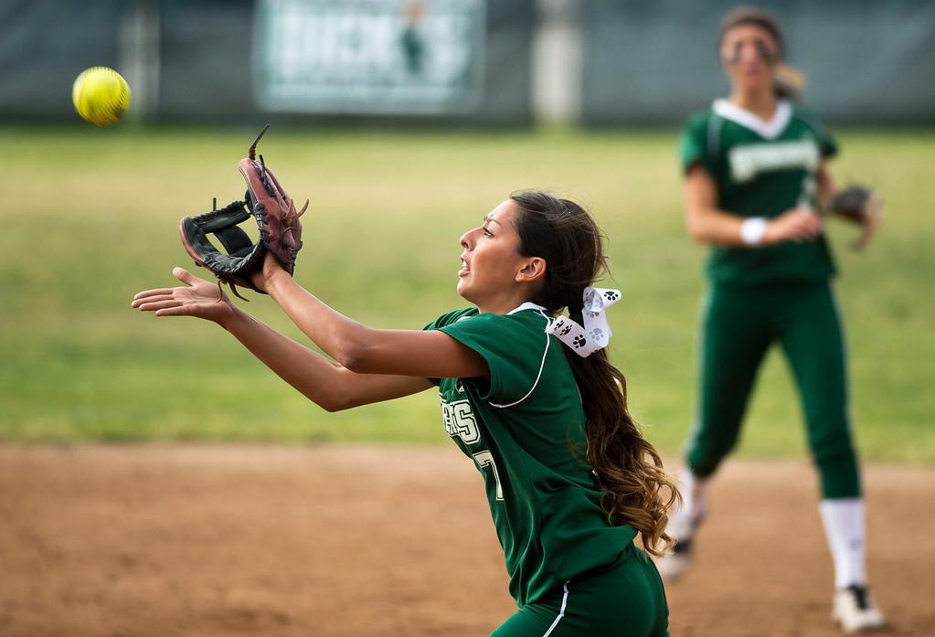 . Bonita\'s Rebecca Orozco in the fourth inning during a prep softball game Bonita vs. Diamond Bar at Diamond Bar High School on Wednesday, May 8, 2013. Bonita won 5-1. (SGVN/Staff photo by Watchara Phomicinda)