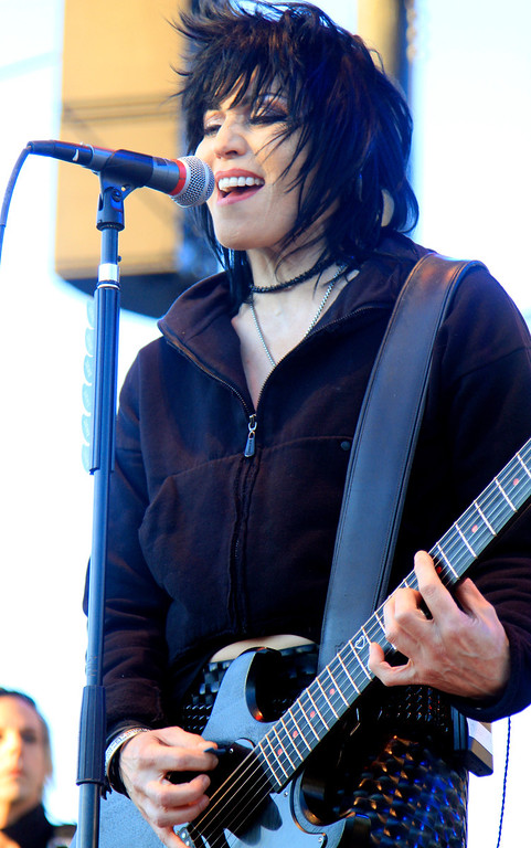 . Singer Joan Jett, of Joan Jett and the Blackhearts, performs Thursday, July 26, 2012 at the California Mid-State Fair in Paso Robles, Calif. (Photo by Michael Mariant/Invision/AP)