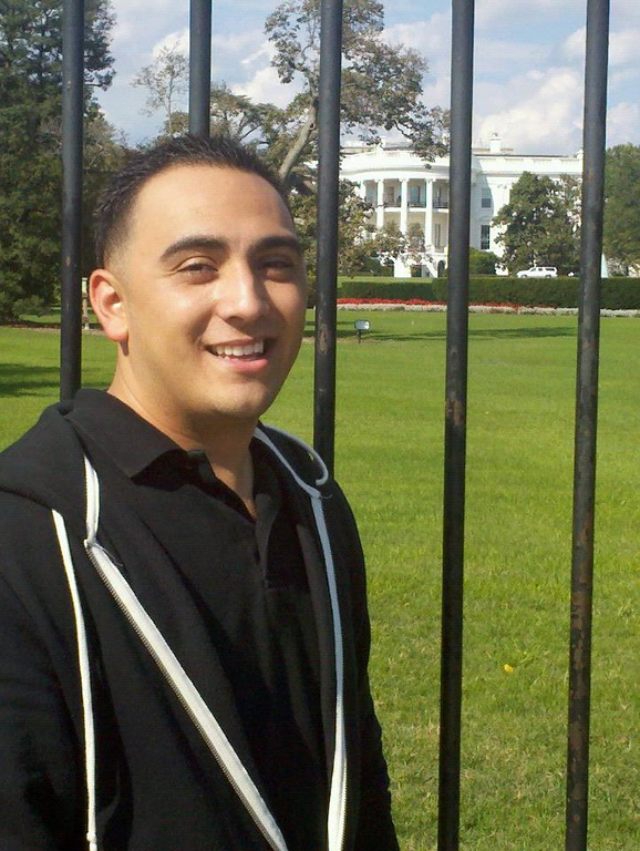 . Arthur Arzola, the Rancho Cucamonga-based admissions counselor for Humboldt State University who was killed in the April 10, 2014, bus crash in Orland, Calif., is seen in front of the White House in a photo from his Facebook page.