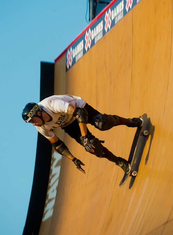 . Elliot Sloan competes in the America\'s Navy Skateboard Big Air final during X Games Los Angeles at Irwindale Event Center in Irwindale on Thursday, August 1, 2013. (SGVN/Staff photo by Watchara Phomicinda)