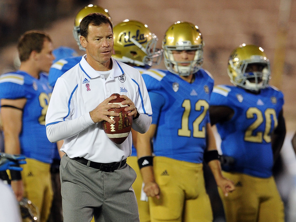 . UCLA head coach Jim Mora watches his team during warm-ups prior to their college football game against California in the Rose Bowl in Pasadena, Calif., on Saturday, Oct. 12, 2013.   (Keith Birmingham Pasadena Star-News)