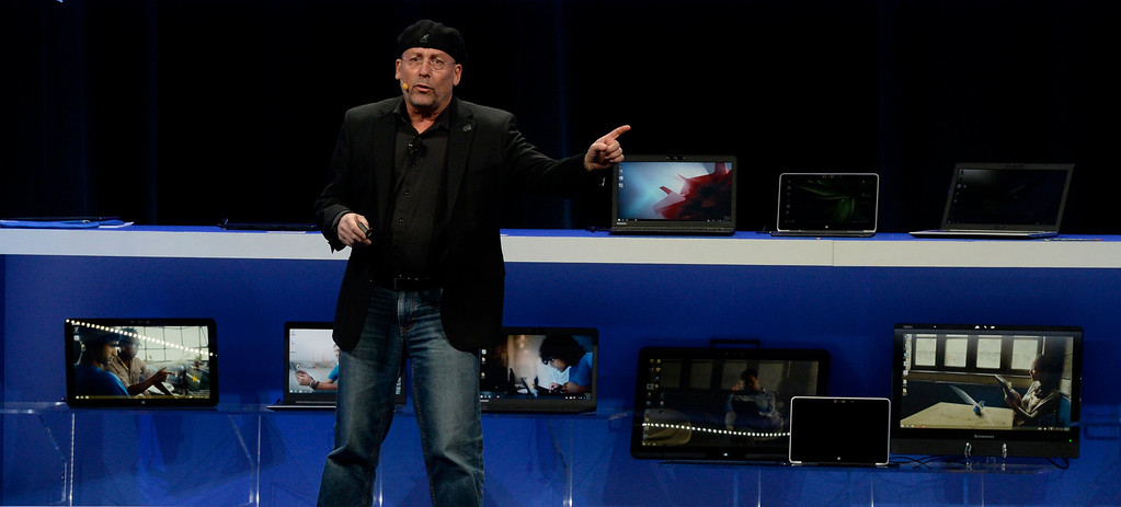 . Jan 6,2014.  Las Vegas NV. USA.  Intel\'s Senior Vice President Perceptual Computer General Manger Mooly Eden talks about Intel\'s new RealSense tech,  during the 2014 CES media day show Monday. The 2014 CES show starts this Tuesday and runs till Friday with a estimated crowd of 150,000 to attend the show.. Photo by Gene Blevins/LA Dailynews