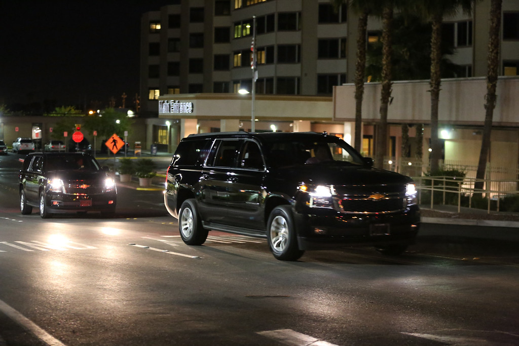 . Vehicles rumored to be used to transport members of the Kardashian family drive past Sunrise Hospital & Medical Center where former NBA player Lamar Odom is being treated on October 13, 2015 in Las Vegas, Nevada.  (Photo by Gabe Ginsberg/Getty Images)