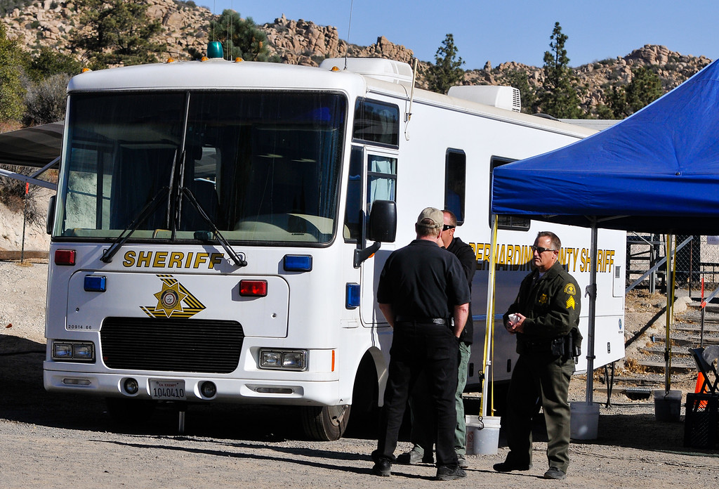 . San Bernardino County Sheriff\'s Department set up a command post at the Arrowhead Fish & Game Conservation Club as the search for missing German hiker continues in the San Bernardino Mountains near Lake Arrowhead on Friday, Oct. 4, 2013. The command post is adjacent to the Pinnacle Trailhead. (Photo by Rachel Luna / San Bernardino Sun)