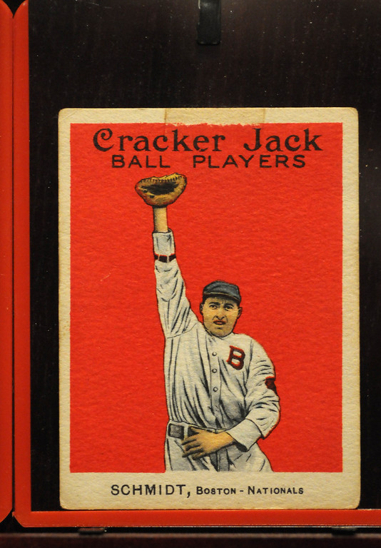 """. Baseball cards were in Cracker Jacks boxes during 1914 and 1915 and are included in the \""""Baseball!\"""" exhibit.The Exhibition opens April 4, 2014 at the Ronald Reagan Presidential Library and Museum.  Running through September 4, 2014, Baseball is a 12,000 square foot exhibition featuring over 700 artifacts, including some of the rarest, historic and iconic baseball memorabilia.  (Photo by Dean Musgrove/Staff Photographer)"""