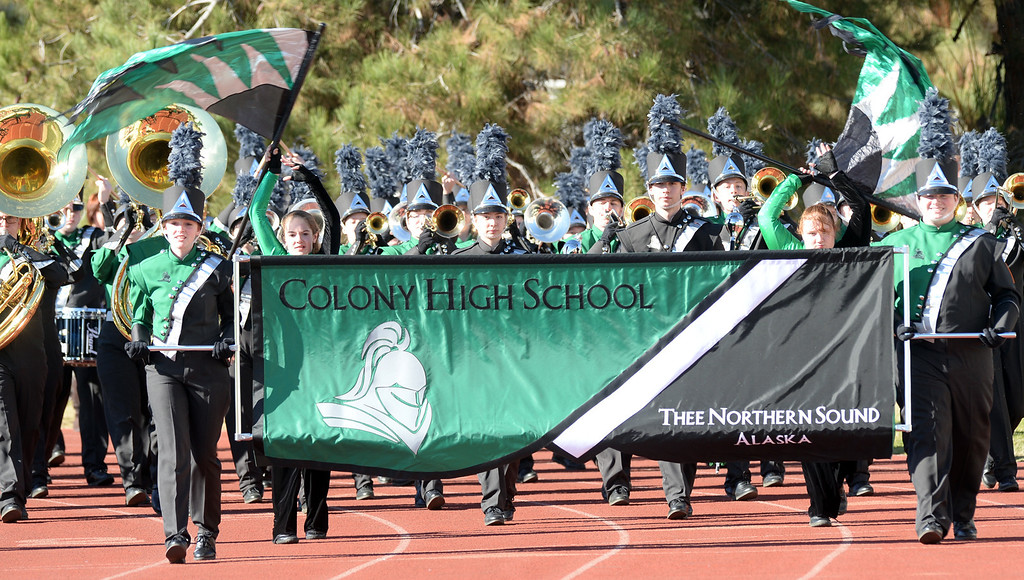 . The Colony High School Knights Marching Band from Palmer, Alaska performs during the 34th Annual Pasadena Tournament of Roses Bandfest at Pasadena City College on Monday December 30, 2013. (Staff Photo by Keith Durflinger/Pasadena Star-News)