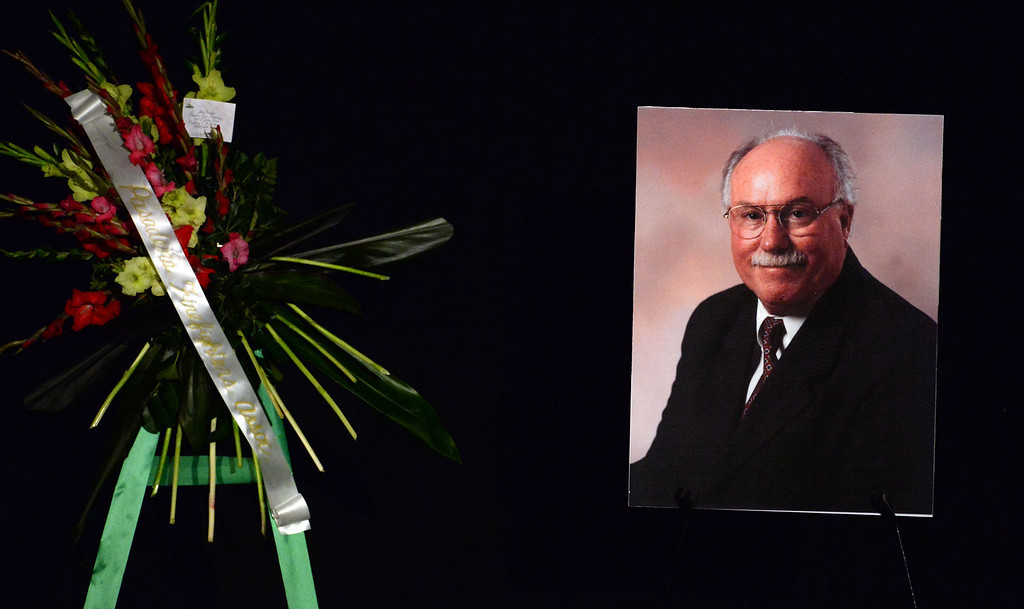 . A celebration of life service for former Pasadena Fire dept. Capt. and state fire marshall, John Tennant at the Pasadena Civic Auditorium in Pasadena, Calif., on Wednesday, Feb. 5, 2014. (Keith Birmingham Pasadena Star-News)