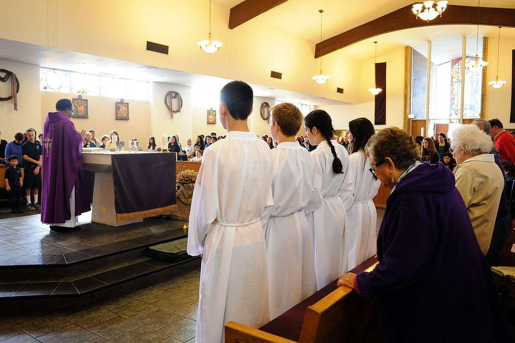 . A large crowd attends the Ash Wednesday Mass at the Saint Euphrasia Catholic Church in Granada Hills, CA March 5, 2014.(Andy Holzman/Los Angeles Daily News)