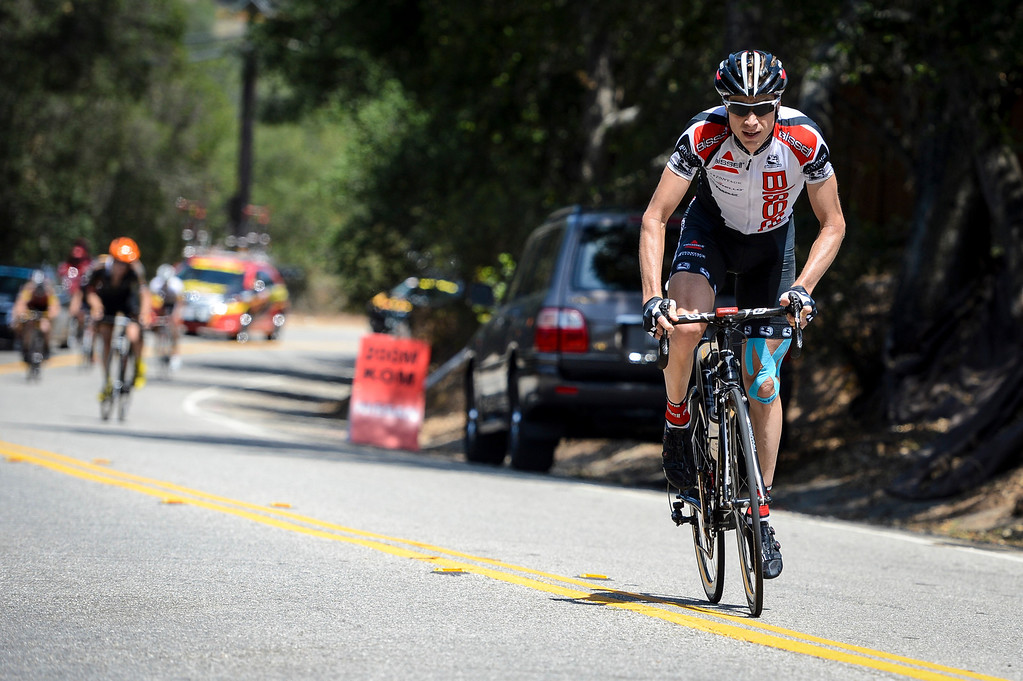 . Christopher Baldwin (BPC) makes a breakaway to get win the first king of the mountain climb of the stage up highway 150 into the Ojai Valley Wednesday.  Stage 4 of the Amgen Tour of California started in Santa Clarita and ended in Santa Barbara.  Photo by David Crane/Staff Photographer