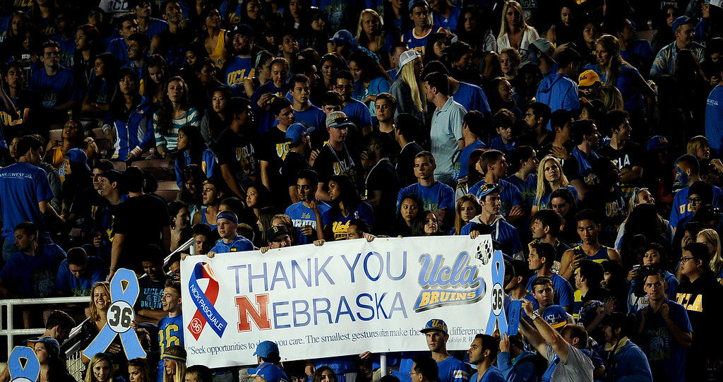 . A thank you to Nebraska in honor of Nick Pasquale, the UCLA receiver who was struck and killed by a car earlier this month prior to their college football game against New Mexico State in the Rose Bowl in Pasadena, Calif., on Saturday, Sept. 21, 2013.   (Keith Birmingham Pasadena Star-News)