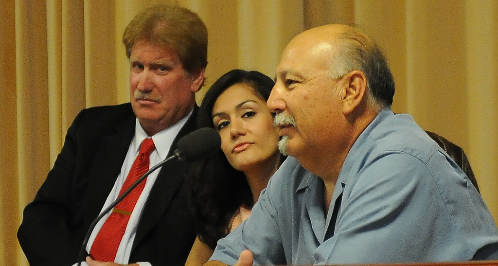 . Left to Right:  Candidates Russell Rentschler, Linda Bermudez and Johnny Sanchez during a Azusa Unified School District candidate forum at Azusa Civic Auditorium on Tuesday, Aug. 13, 2013 in Azusa, Calif.   (Keith Birmingham/Pasadena Star-News)