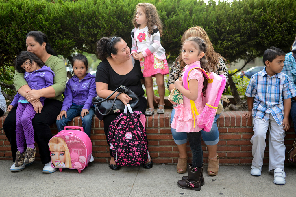 . Kindergarten students at Fair Avenue school and their parents wait for class to start in North Hollywood Tuesday.  Tuesday is the first day of school for the Los Angeles Unified School District. Photo by David Crane/Los Angeles Daily News