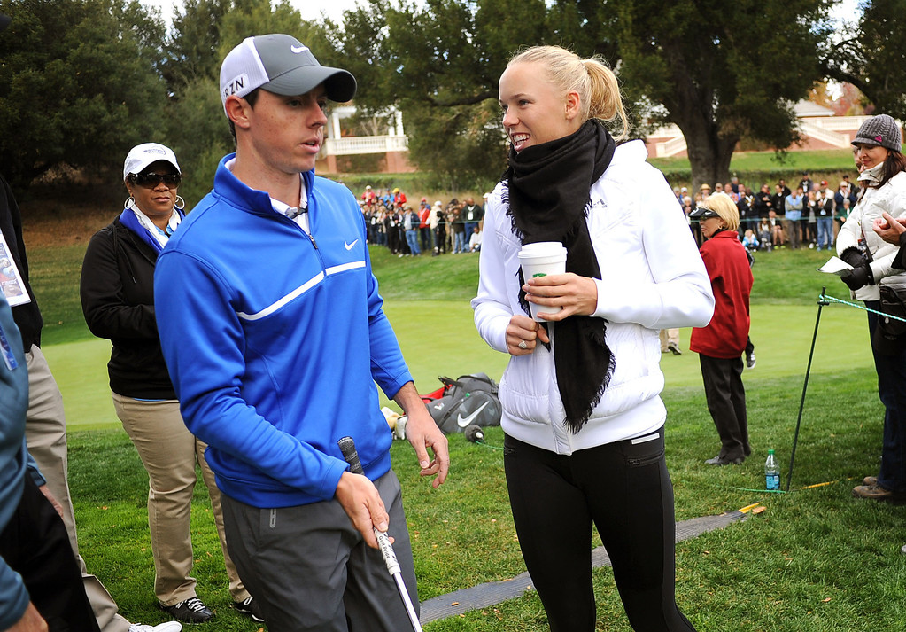 . Caroline Wozniacki looks on as boyfriend Rory McIlroy prepares to tee off on the second hole during the second round of the Northwestern Mutual World Challenge golf tournament at Sherwood Country Club, Friday, December 6, 2013, in Thousand Oaks, Calif. (Andy Holzman/Los Angeles Daily News)