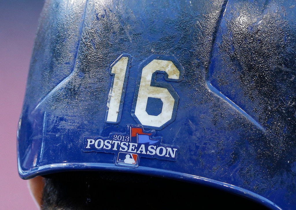 . Los Angeles Dodgers\' Andre Ethier waits to bat before Game 1 of the National League baseball championship series Friday, Oct. 11, 2013, in St. Louis. (AP Photo/David J. Phillip)