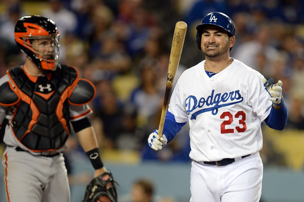 . The Dodgers\' Adrian Gonzalez #23 reacts after a strike  during their game against the Giants at Dodger Stadium Friday, May 9, 2014. (Photo by Hans Gutknecht/Los Angeles Daily News)