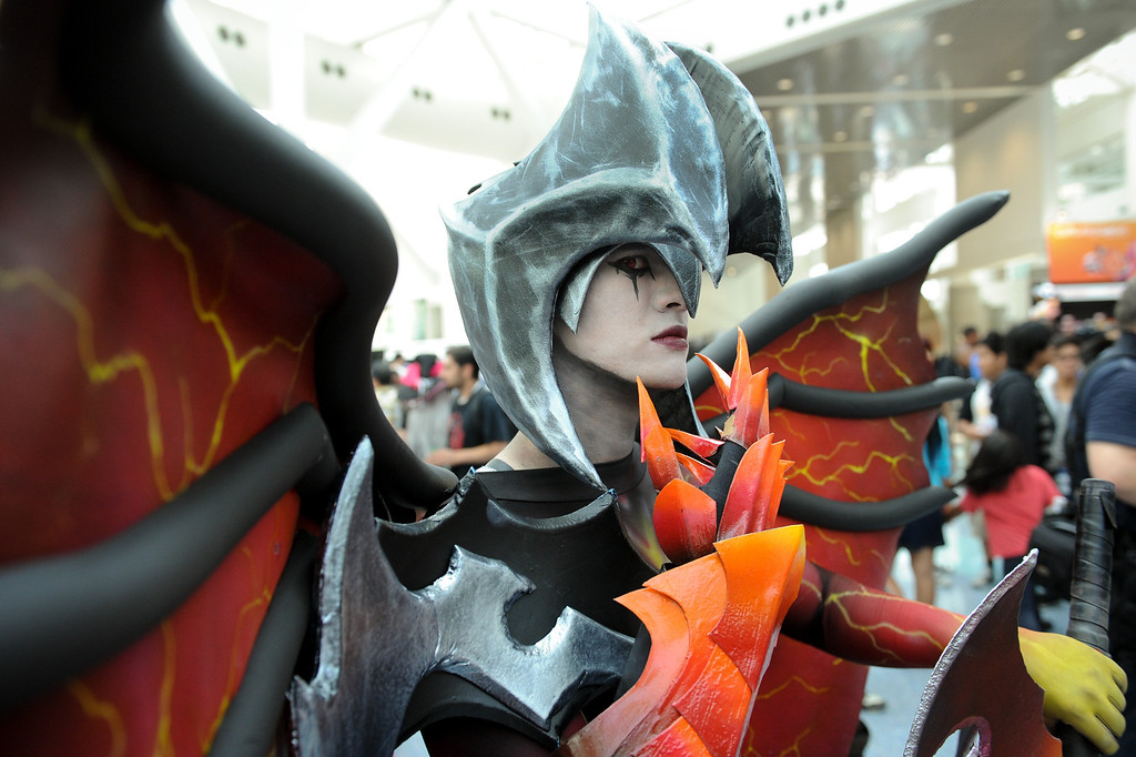 """. Oliver Holmes is dressed as the character \""""Aatrox\"""" from League of Legends at the Anime Expo at the L.A. Convention Center, Saturday, July 6, 2013. (Michael Owen Baker/L.A. Daily News)"""