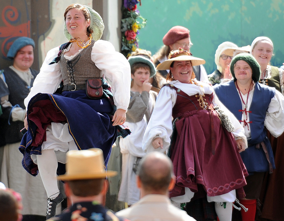 . Performers dance on opening day of the Renaissance Pleasure Faire at Santa Fe Dam Recreation Area in Irwindale, Calif., on Saturday, April 5, 2014.  (Keith Birmingham Pasadena Star-News)