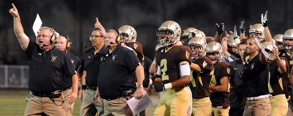 . St. Francis reacts after a recovered La Mirada fumble in the first half of a prep football game at St. Francis High School in La Canada, Calif. on Thursday, Sept. 19, 2013.    (Photo by Keith Birmingham/Pasadena Star-News)