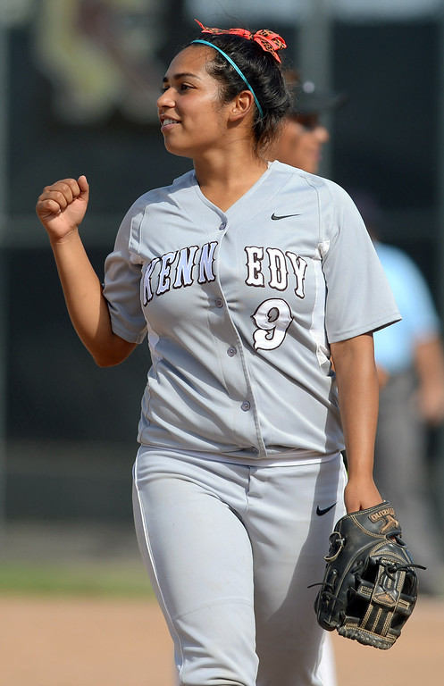 . Kennedy\'s Danielle Estrada reacts after an out is recorded against Narbonne during the CIF City Section Div. I softball semifinal in Granada Hills, Ca May 21, 2013.(Andy Holzman/Staff Photographer)
