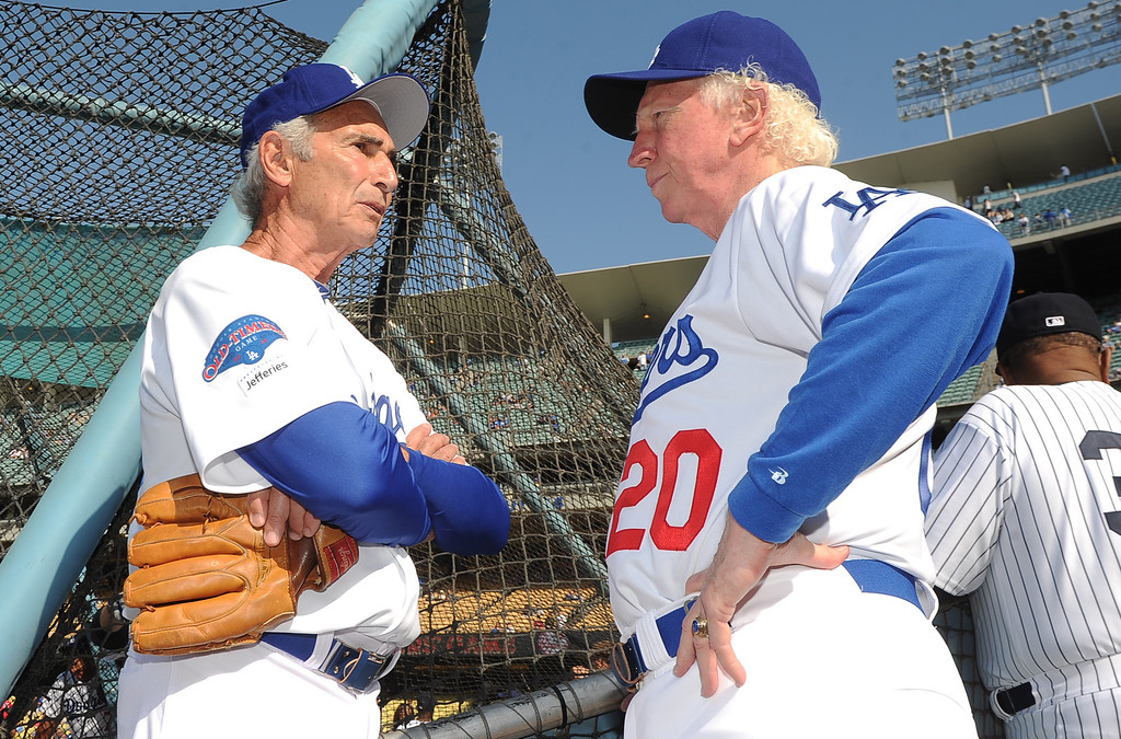 . Former Los Angeles and Brooklyn Dodger left handed pitcher Sandy Koufax, left, talks with hall of famer and former Los Angeles Dodgers right hander, Don Sutton during the Old-Timers game prior to a baseball game between the Atlanta Braves and the Los Angeles Dodgers on Saturday, June 8, 2013 in Los Angeles.   (Keith Birmingham/Pasadena Star-News)