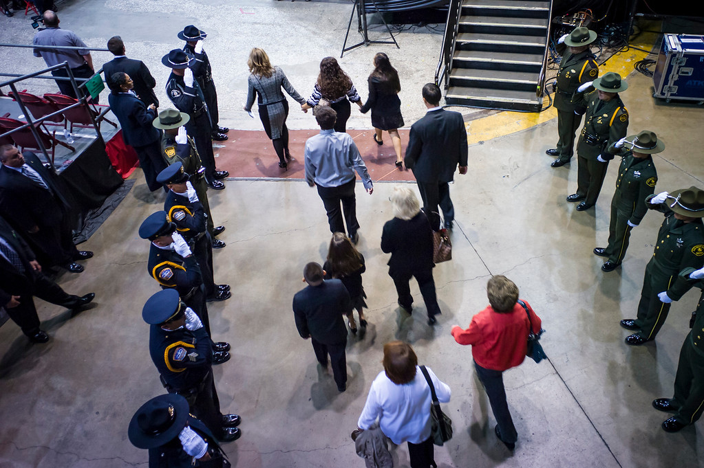 . The family of slain TSA officer Gerardo Hernandez arrive at the memorial at the Los Angeles Sports Arena Tuesday, November 12, 2013.  A public memorial was held for Officer Hernandez who was killed at LAX when a gunman entered terminal 3 and opened fire with a semi-automatic rifle, Grigsby was wounded in the attack.  ( Photo by David Crane/Los Angeles Daily News )