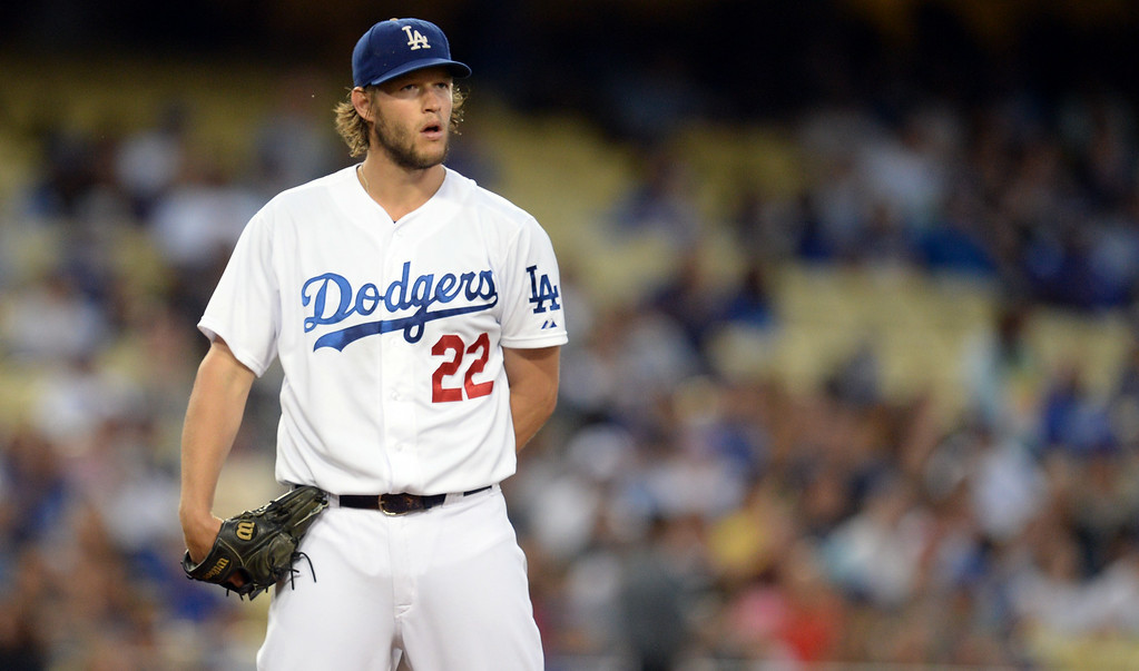 . Dodgers� pitcher Clayton Kershaw #22 during their game against the Padres at Dodger Stadium Thursday, August 21, 2014. (Photo by Hans Gutknecht/Los Angeles Daily News)