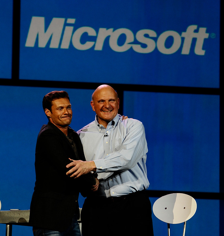 . Microsoft CEO Steve Ballmer(R) joins Ryan Seacrest  as keynote speaker to kickoff the start of the 2012 CES show in Las Vegas NV. This is the last show that Micorsoft  will kick off with a keynote speech, that ends a run of 15 straight years. It\'s also the last time Microsoft will have a booth at the CES  show.  The problem with the show\'s timing will be acute for Microsoft this year. A new version of Windows won\'t be ready until the fall. In his keynote speech Monday evening, CEO Steve Ballmer showed a demo of the new Windows 8. Las Vegas NV.  Jan 9,2012, Photo by Gene Blevins/LA DailyNews