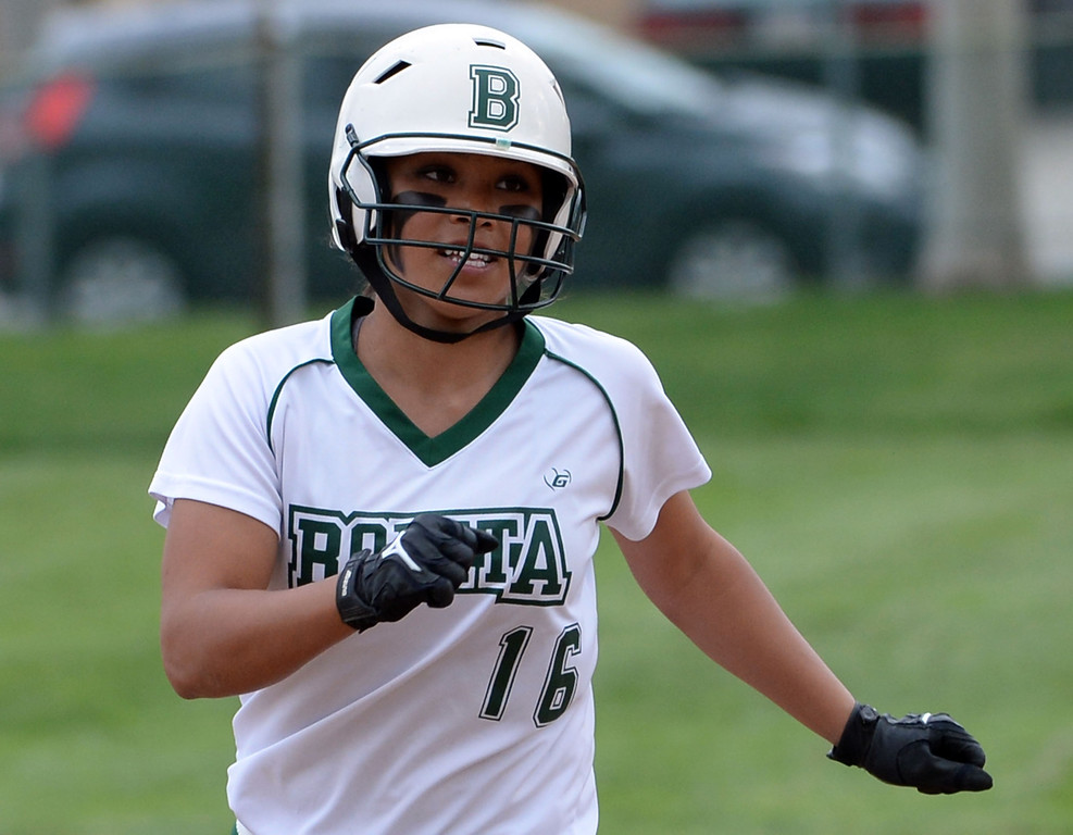 . Bonita\'s Chloe Melanson rounds second base after hitting a two run home run in the sixth inning of a prep softball game against West Covina at Los Flores Park in La Verne, Calif., on Thursday, March 27, 2014. Bonita won 6-3. (Keith Birmingham Pasadena Star-News)