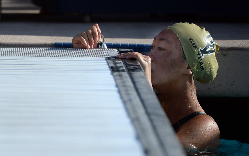 . A swimmer looks on during the 200 Yard IM during the Division 4 CIF Southern Section Swimming Championships in the Riverside Aquatics Complex at Riverside City College in Riverside, Calif., on Friday, May 16, 2014.  (Keith Birmingham/Pasadena Star-News)