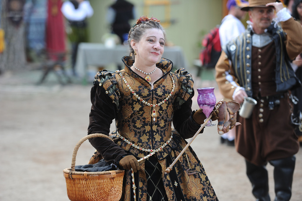 . Locals dress in period costumes on opening day of the Renaissance Pleasure Faire at Santa Fe Dam Recreation Area in Irwindale, Calif., on Saturday, April 5, 2014.  (Keith Birmingham Pasadena Star-News)