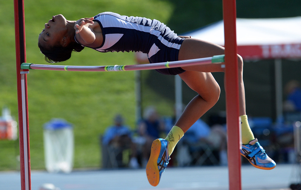. Redlands\' Savannah Miller competes in the High Jump during the CIF California State Track & Field Championships at Veteran\'s Memorial Stadium on the campus of Buchanan High School in Clovis, Calif., on Saturday, June 7, 2014. 