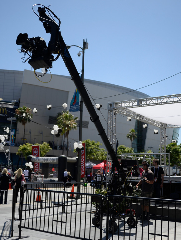 . June 13,2014. Los Angeles. CA.  ESPN TV crews get cameras ready, as thousands of LA King fans arrive hours early at Staples Center for game 5 of the Stanley Cup Playoffs. Photo by Gene Blevins/LA DailyNews
