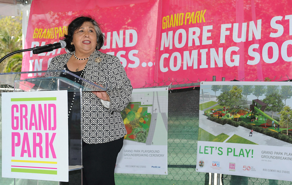 . Los Angeles County Supervisor Gloria Molina speaks. Dignitaries from First 5 LA and Proposition A/Los Angeles County Regional Park and Open Space District joined Molina in presenting $1 million to fund a children\'s play area at Grand Park in the heart of Downtown Los Angeles. Los Angeles, CA. 7/30/2014(Photo by John McCoy Daily News)