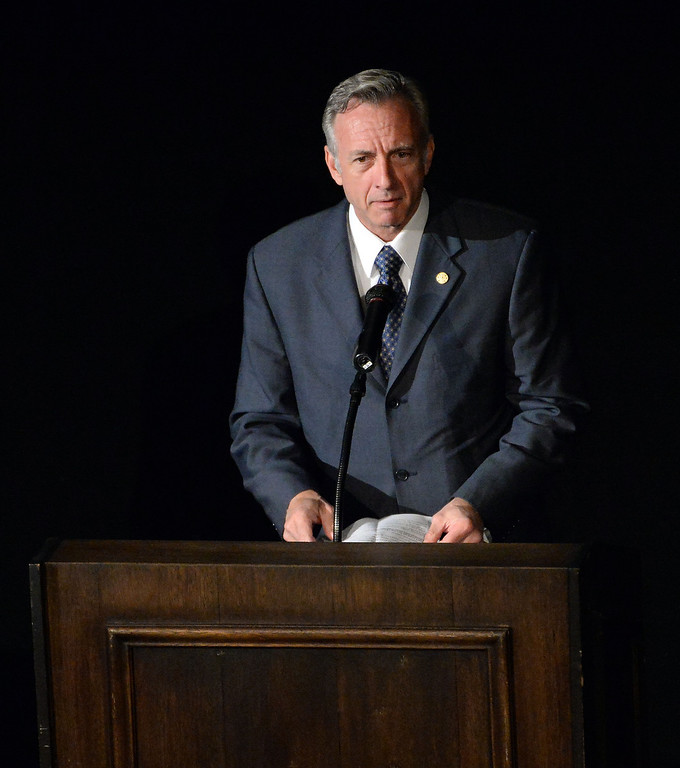 . Lew Stone, Secretary Treasurer California Professional Fire Fighters Associations speaks during a celebration of life service for former Pasadena Fire dept. Capt. and California State fire marshall, John Tennant at the Pasadena Civic Auditorium in Pasadena, Calif., on Wednesday, Feb. 5, 2014. (Keith Birmingham Pasadena Star-News)