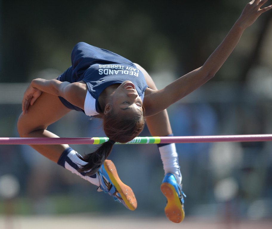 . Redland\'s Savannah Miller competes in the Division 1 high jump of the CIF Southern Section Track and Field Championships Saturday at Mt. SAC. 20130518 Photo by Steve McCrank / Staff Photographer