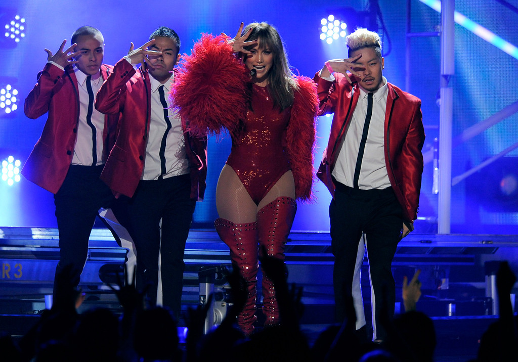 . Jennifer Lopez, third from left, performs at the Billboard Music Awards at the MGM Grand Garden Arena on Sunday, May 19, 2013 in Las Vegas. (Photo by Chris Pizzello/Invision/AP)