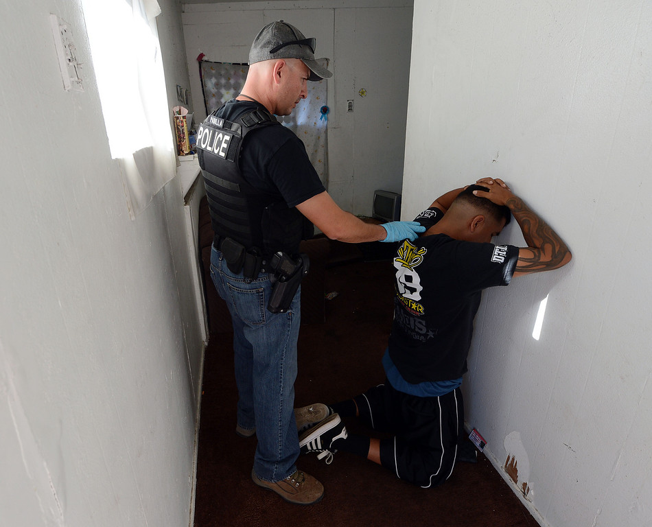 . (Will Lester/Inland Valley Daily Bulletin) The Pomona Police Department, along with assistance from other law enforcement agencies, conducted a Gang Saturation Sweep Saturday August 17, 2013.