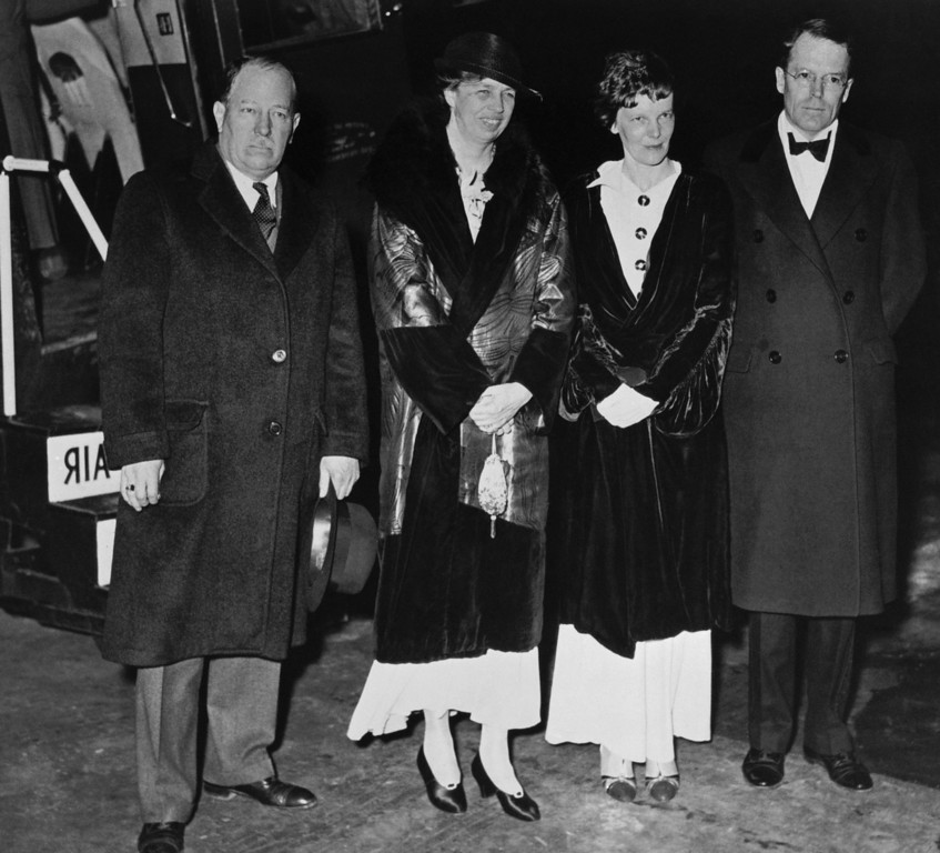 . Amelia Earhart,second from right, poses with First Lady Eleanor Roosevelt, second from left, in this undated photo. The rest of the group is unidentified. (AP Photo)