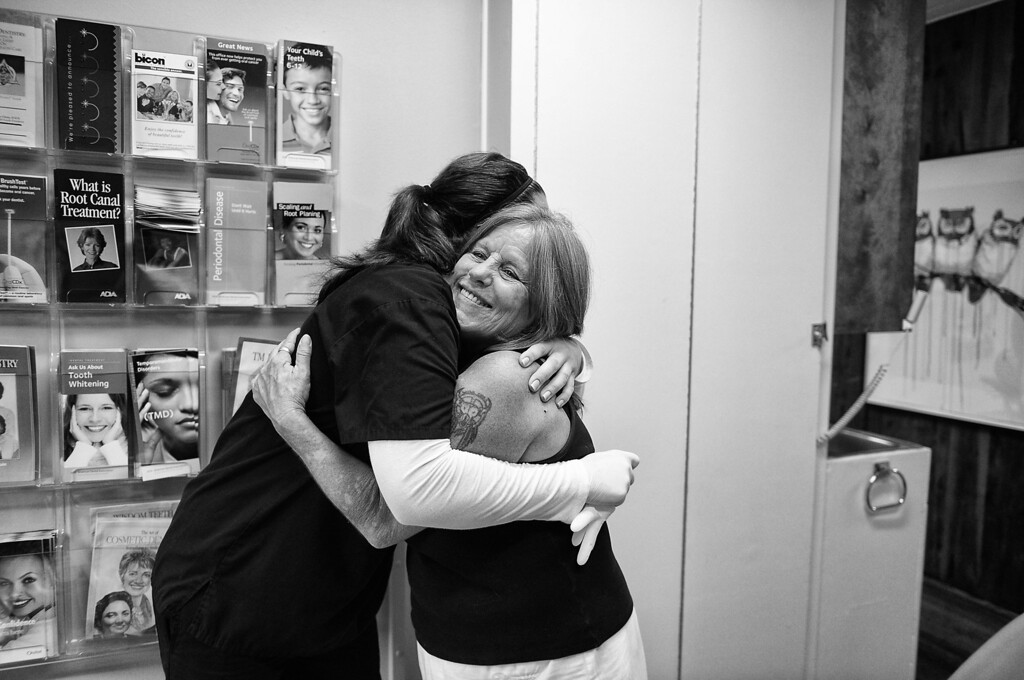 . Dorothy gives Dentist Mary Chess-Abelson a heartfelt hug.