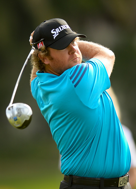. William McGirt hits a tee shot from the second hole during the third round of the Northern Trust Open, Saturday, February 15, 2014, at Riviera Country Club. (Photo by Michael Owen Baker/L.A. Daily News)