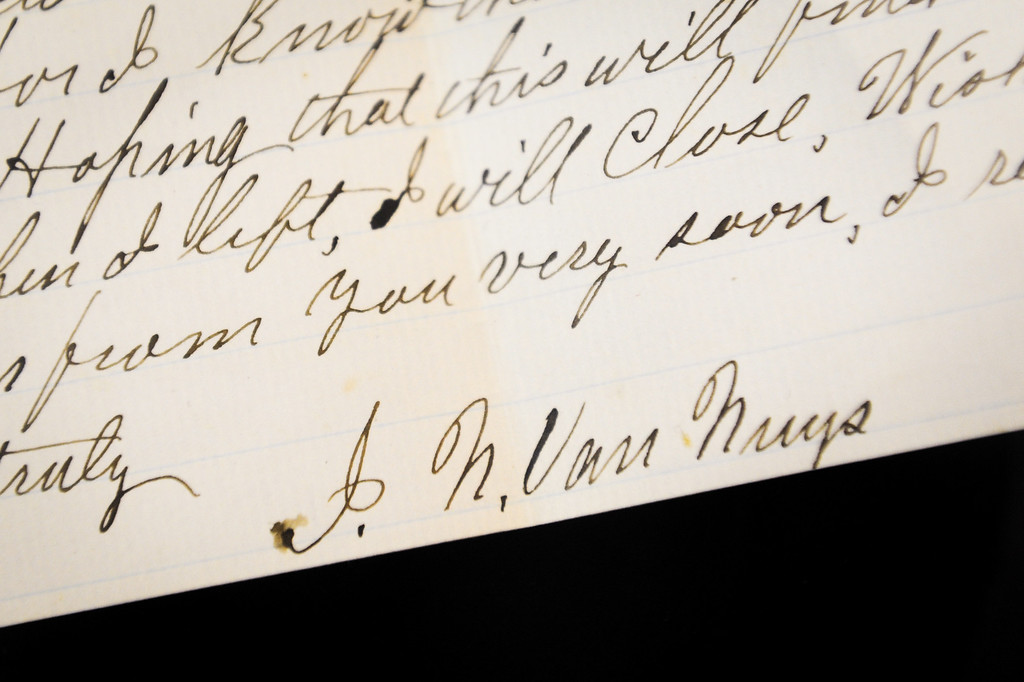 . An 1865 letter written by Isaac Newton Van Nuys at the Valley Relics Museum in Chatsworth. (Photo by Michael Owen Baker/L.A. Daily News)