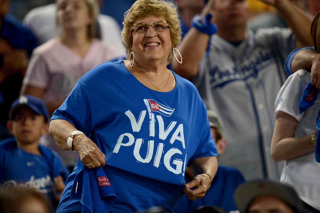 . Fans watch the Los Angeles Dodgers beat the Braves during game 3 of the NLDS at Dodger Stadium Sunday, October 6, 2013. (Photo by Hans Gutknecht/Los Angeles Daily News)