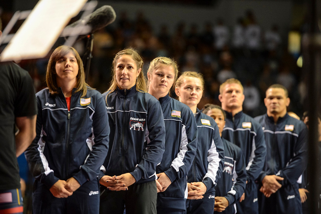 . The USA wrestling team at the USA vs Russia vs Canada dual meet at the Sports Arena Sunday .  Photo by David Crane/Los Angeles Daily News.