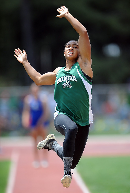 . Bonita\'s Dominique Wheatly in the long jump during the CIF-SS track & Field championship finals in Hilmer Stadium on the campus of Mt. San Antonio College on Saturday, May 18, 2013 in Walnut, Calif.  (Keith Birmingham Pasadena Star-News)