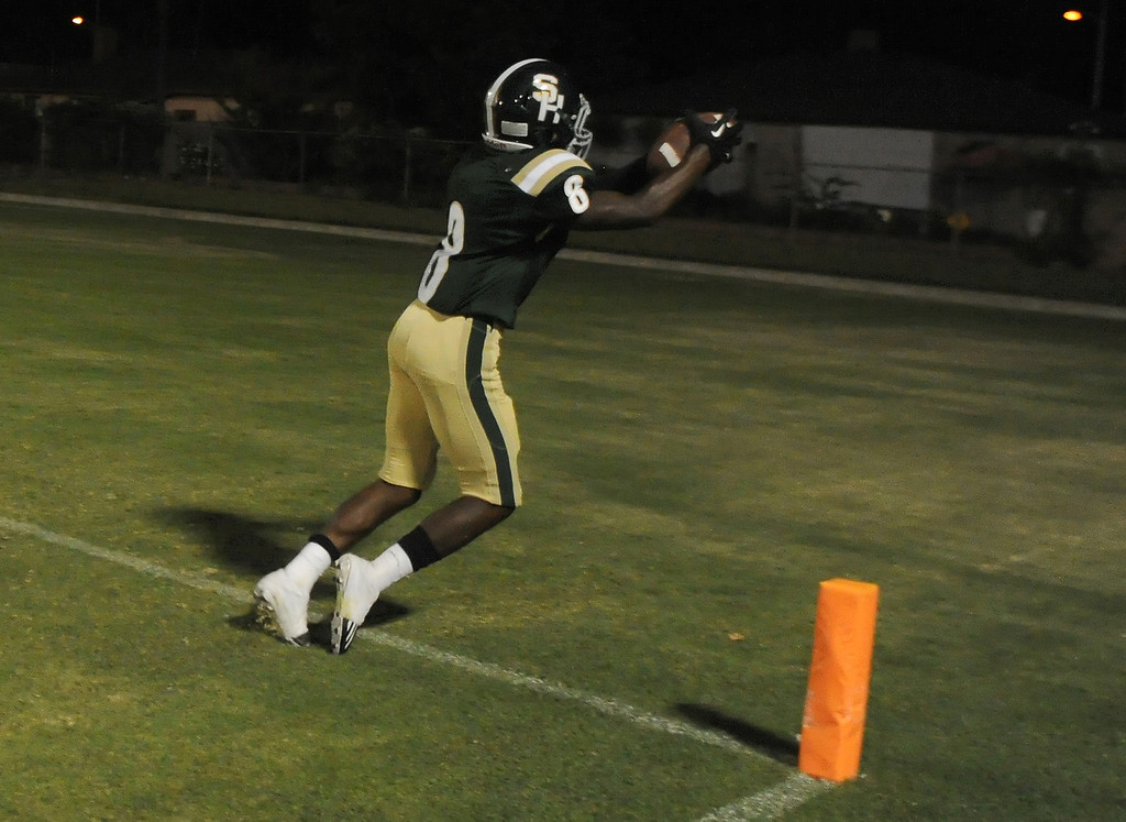 . South Hills\' Alex Garcia (6) catches a pass in the end zone, but it is ruled no touchdown in the first half of a prep football game against Bonita at Covina District Field in Covina, Calif. on Friday, Sept. 6, 2013.   (Photo by Keith Birmingham/Pasadena Star-News)