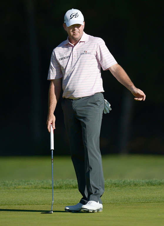 . Robert Garrigus reacts to missing a put for birdie on #7. He would go on to earn a bogie on the hole during the second round of the Northern Trust Open. Pacific Palisades, CA. February 13, 2014 (Photo by John McCoy / Los Angeles Daily News)